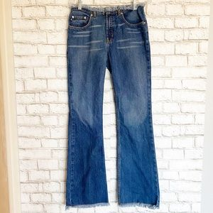 Express Distressed Waist Mid Rise Flare Jeans 5/6L